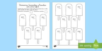 Ficha de actividad: Colorear por divisiones inexactas y exactas con una cifra - polos - dividir, división, repartir, cifras, divide, division, sharing, figures, digits, escrito, escrita,