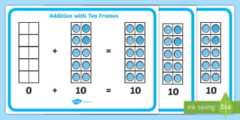 CfE Addition with Ten Frames Display Posters - CfE Addition with Number Frames, maths numeracy intervention, number counts, maths recovery, ten fra