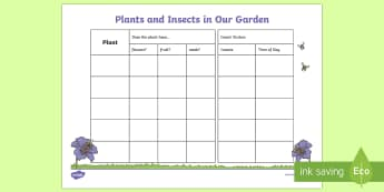 Garden Plants and Insects Record Sheet - insects and plants, plants and flowers, flower, seeds, plants, gardening, gardens, observing insects