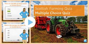 Scottish Farming: Quiz PowerPoint - pastoral, arable, farm, industry, primary, food