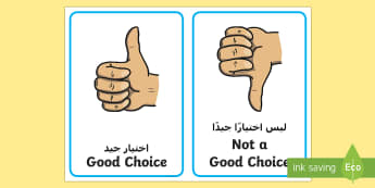 Good Choice Behaviour Support Visual Aid Arabic/English  - SEN, bad choice, Visual Support, Behaviour management, cards, EAL, Arabic