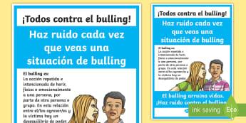 Póster: ¡Haz ruido!   Todos contra el bulling  - Bulling, acoso, acoso escolar, molestar, abuso, abusón, matón, problemas de convivencia, convivenc