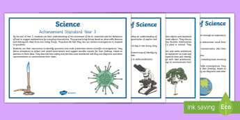 Science Achievement Standards Year 3-4 Display Posters - investigate, observe, inquiry, assessment, i can, criteria, success