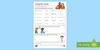 Making New Friends at Secondary School Activity Sheet - Secondary Transition Resources, friendships, transition, relationships, behaviour, conversation, tea