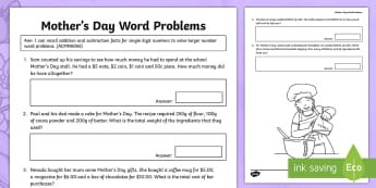 Year 3 Mother's Day Addition and Subtraction Word Problems Activity Sheet - Mother's Day Maths, maths, mother, mother's day, mum, addition, subtraction, worksheet, ACMNA055,