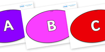 A-Z Alphabet on Ovals - A-Z, A4, display, Alphabet frieze, Display letters, Letter posters, A-Z letters, Alphabet flashcards