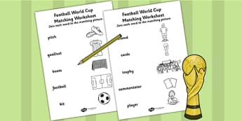 Football World Cup Word and Picture Matching Worksheet - football
