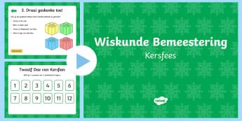 Kersfees Wiskunde Bemeestering PowerPoint - Desember, fees, tradisie, takbok, Kersvader, Kersboom, elwe
