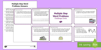 Multiple Step Word Problems Challenge Cards - addition, subtraction, calculating, word problems, year 2,Australia