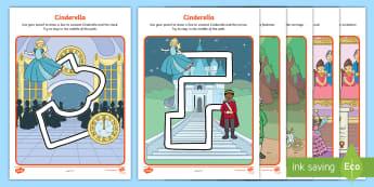 Cinderella Pencil Control Path Worksheets - cinderella, control