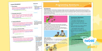 PlanIt - D&T UKS2 - Programming Adventures Planning Overview - design and technology, programming, overview, planit, ks2, upper ks2, y5, y6, d&T, computing