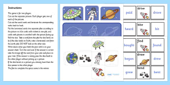 Space Themed Past Tense Activity (Higher, Irregular Verbs) - space themed past tense activity, past tense, past, tense, grammar, irregular verbs, verbs, irregular, activity, space, space themed, higher, rocket, astronaut