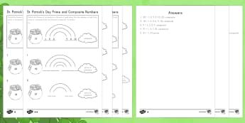 St. Patrick's Day Prime and Composite Numbers Differentiated Activity Sheets - St. Patrick's Day, prime, composite, factors, multiples, math, 4th grade, operations and algebraic