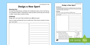 Design a New Sport Activity Sheet - Amazing Fact Of The Day, activity sheets, powerpoint, starter, morning activity, worksheet, May, spo