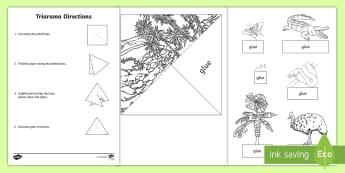 Australian Tropical Rainforest Habitat Triarama Activity Sheets - worksheets, ACSSU211, bush, forest, diorama, science art, flora,Australia