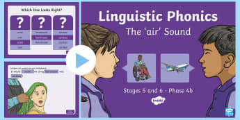 Northern Ireland Linguistic Phonics Stage 5 and 6, Phase 4b, 'air' Sound PowerPoint  - NI, sound search, word sort, investigation