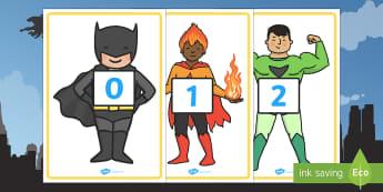 0-30 on Superheroes - 0-30, superheroes, superhero, numbers, 0, 30, display