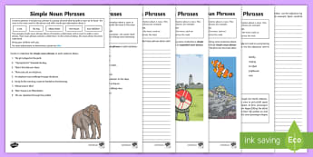 Expanded Noun Phrases Activity Sheets - Homework SPaG Activity Sheets for Parents, noun phrases, expanded noun phrase, expanded noun phrases