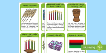Kwanzaa Symbols Information Cards - Kwanzaa, African American, tradition, heritage,