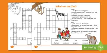 Who's at the Zoo? Crossword - exploring my world, Aistear, Play, Zoo, Animals, literacy, spelling, crossword, Irish, zookeeper, pe