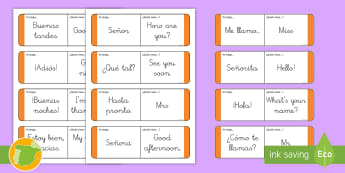 Tarjetas de buscar y emparejar: Frases básicas - Inglés - greetings, lengua extrajera, inglés, english, hello, bye,,Spanish-translation