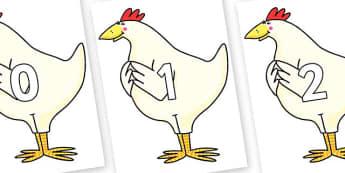Numbers 0-50 on Hullabaloo Chicken to Support Teaching on Farmyard Hullabaloo - 0-50, foundation stage numeracy, Number recognition, Number flashcards, counting, number frieze, Display numbers, number posters