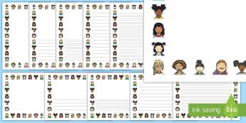 Happy Girl Portrait Page Borders- Portrait Page Borders - Page border, border, writing template, writing aid, writing frame, a4 border, template, templates, landscape