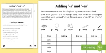 Year 1 Spelling Practice Adding the Suffixes '-s' and '-es' Homework Activity Sheet  - ks1, English, year 1, practice, home learning, home work, homework, Worksheet, practise, SPaG, spell