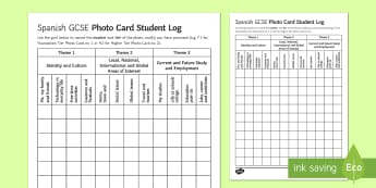 Spanish GCSE Photo Card Student Log - Spanish Speaking Practice, students, log, topics, photo, card, GCSE
