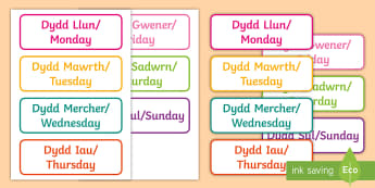 Days of the Week Welsh Flashcards English/Welsh - Bilingual Welsh and English Displays, Incidental Welsh, displays, days of the week, dyddiau'r wythn