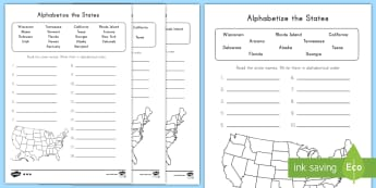 Alphabetize the States Differentiated Activity Sheets - States and Capitals, USA States, US States, United States, US Capitals, USA Capitals, US Capital Cit