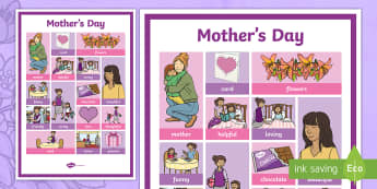 Mother's Day Word Grid - ESL Mother's Day Resources