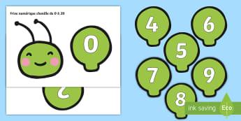 Frise numérique de 0 à 20, en forme de chenille - frise numérique, number line, nombres, numbers, chiffres, mathématiques, maths, compter, additionn