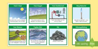 Cardiau Didoli Ynni Adnewyddadwy neu Di-adnewyddadwy - renewable, energy, Ynni, Adnewyddadwy,  Di-adnewyddadwy, gwyddoniaeth,Welsh