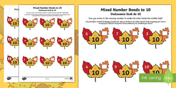 Autumn leaf mixed number bonds to 10 activity sheet English/Polish