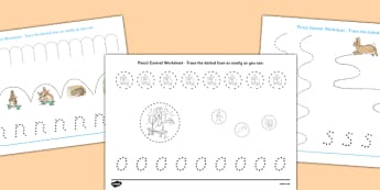 Beatrix Potter - The Story of a Fierce Bad Rabbit Pencil Control Sheets - beatrix potter, fierce, bad, rabbit