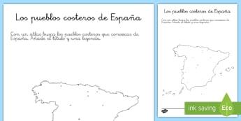 Ficha de actividad: Los pueblos costeros - Mapas De España, La Playa, Las Costas, Mapas, Mapas Mudas, Verano, Pueblos Costeros , Vacaciones,Sp