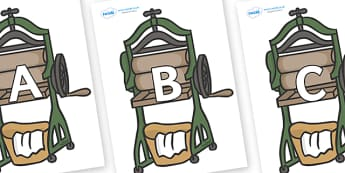A-Z Alphabet on Mangle - A-Z, A4, display, Alphabet frieze, Display letters, Letter posters, A-Z letters, Alphabet flashcards