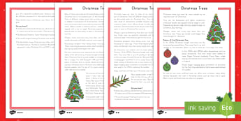 Christmas Trees Differentiated Reading Comprehension Activity - Norway, spruce, artificial, Prince Albert, Christian