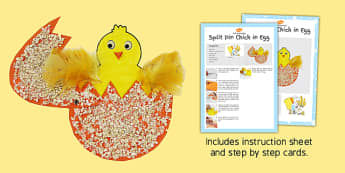 Split Pin Chick in Egg Craft Instructions - craft, instructions, split pin, chick, egg