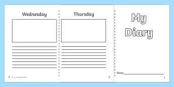 Diary Template KS1 - 7 day diary, writing frame, diary, journal, week, planner, my diary, writing frame, 7 day, seven day, booklet, page border, writing template