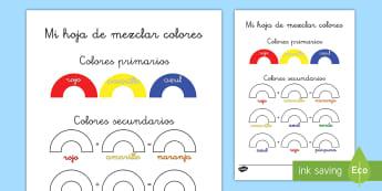 Ficha de actividad: Mezclar colores - ficha de actividad, mezclar colores, teoría del color, colores, colorear, color, colores primarios,