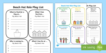 Beach Hut Role Play List Writing  Activity Sheets - Seaside, Write, Holiday, roleplay, summer, vacation, worksheet