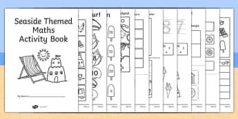 Seaside Themed KS1 Maths Activity Book - sea side, numeracy