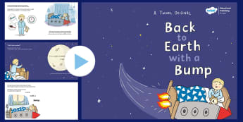 Back to Earth with a Bump Story PowerPoint - space, planets, sun, travel, adventure