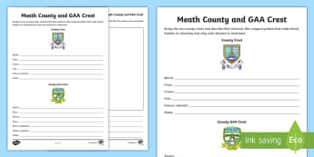 Meath County and GAA Crest Activity Sheet - GAA Football All-Ireland Senior Championship, GAA Hurling All-Ireland Senior Championship, GAA crest