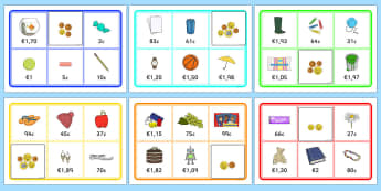 Toy Shop Bingo Euro and Cents - toy shop, bingo, game, activity, euro, cents, euros, currency, buying, toys, buy, car, banana, flip flops, shop