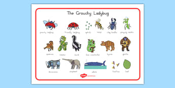 The Grouchy Ladybug Word Mat - usa, america, the grouchy ladybug, word mat
