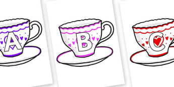 A-Z Alphabet on Cups and Saucers - A-Z, A4, display, Alphabet frieze, Display letters, Letter posters, A-Z letters, Alphabet flashcards