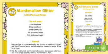Marshmallow Glitter Playdough Recipe